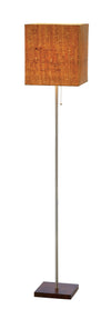 Walnut Rubber wood/Brushed steel Floor Lamp with a Natural cork Shade on white background  image 1
