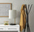 Live setting for the Black w. Antique Brass Accents Wireless Charging Table Lamp with a Taupe Textured Fabric Shade image 3