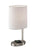 Brushed Steel Wireless Charging Table Lamp with a White textured fabric Shade on a white background  image 2