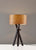 Black Wood Table Lamp with a Cherry Wood Veneer Shade on a grey background  image 2