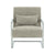 Front of the Grey Faux Leather, Stainless Steel Modern Accent Chair image 2