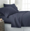 4 Piece Set includes 1 Flat Sheet, 1 Fitted Sheet, & 2 Pillowcases. Wrinkle-free, Made of ultra-plush microfiber. Navy.
