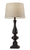 Black Table Lamp with Natural Textured Fabric Shade on white background image 1