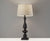 Black Table Lamp with Natural Textured Fabric Shade on grey background image 2