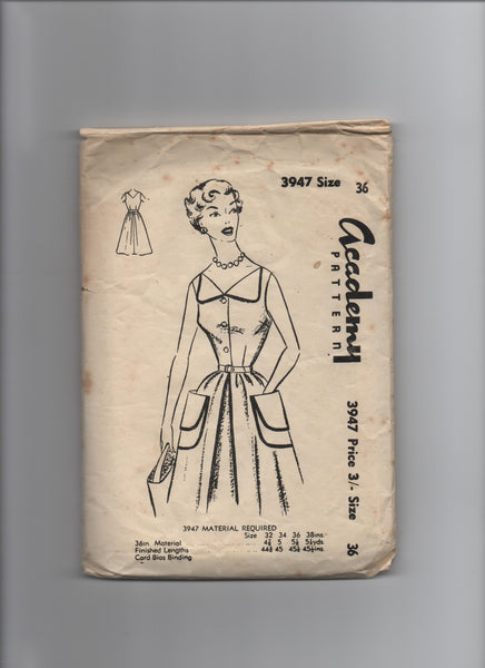 Academy 3947 vintage 1950s dress sewing pattern