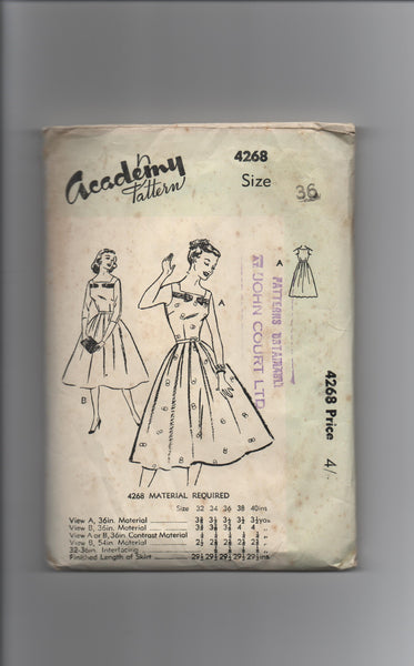 Academy 4382 vintage circa 1950s or 1960s dress sewing pattern