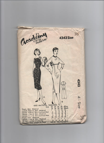 Academy 4343 vintage 1950s dress sewing pattern