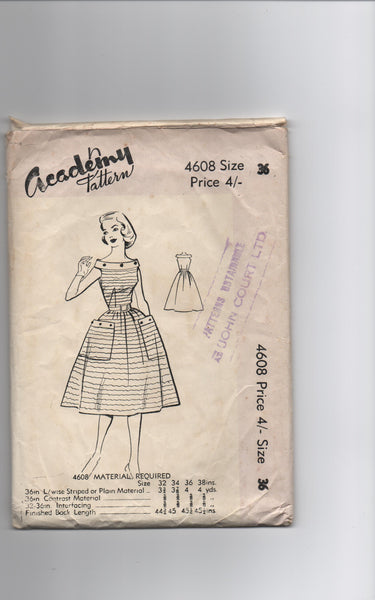 Academy 4608 vintage 1950s dress sewing pattern