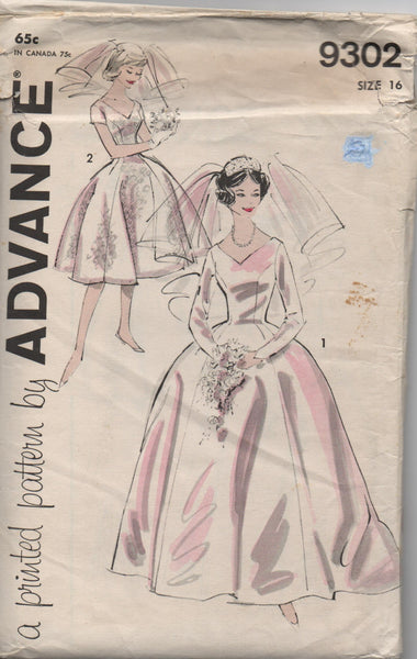 Advance 9302 vintage 1960s wedding dress pattern
