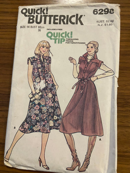 Butterick 6298 vintage 1970s dress sewing pattern