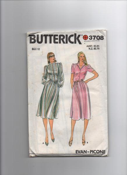 Butterick 3707 vintage 1970s or 1980s Evan Picone dress sewing pattern