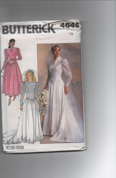 Butterick 4646. Vintage 1980s wedding dress pattern
