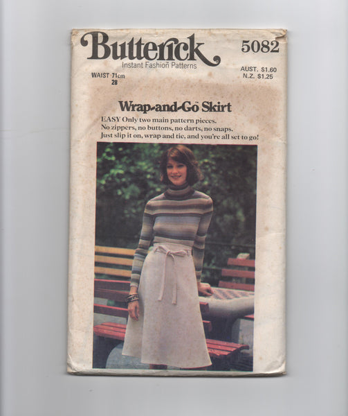 Butterick 5082 vintage 1970s wrap skirt sewing pattern