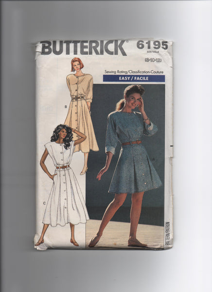 Butterick 6195 Vintage 1980s dress pattern