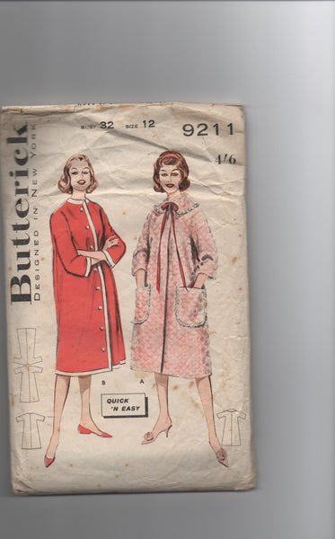 Butterick 9211 vintage 1960s robe dressing gown sewing pattern