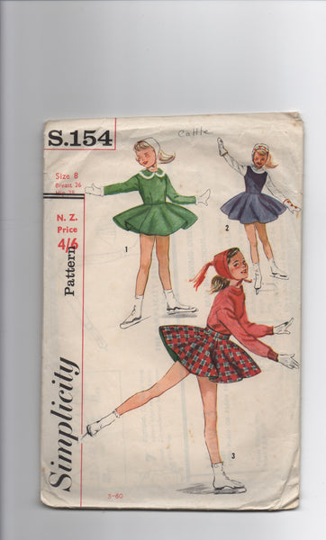 Simplicity s.154 vintage circa 1950s child's skating costume pattern