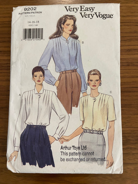 Vogue 9202 vintage 1990s blouse sewing pattern
