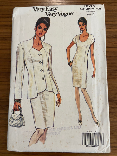 Vogue 8511 vintage 1990s dress and jacket sewing pattern
