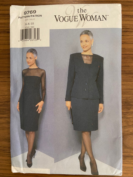 Vogue 9769 vintage 1990s dress and jacket sewing pattern