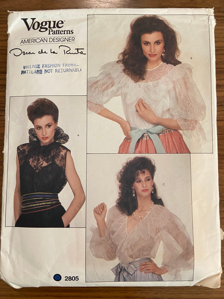Vogue 2805 Vintage 1980s blouse and camisole pattern. Vogue American Designer Oscar de la Renta
