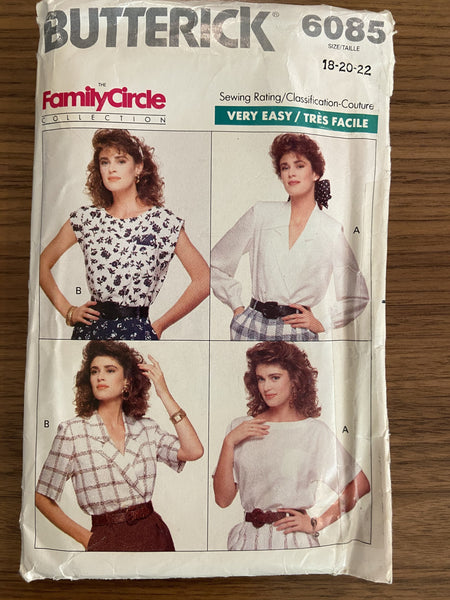 Butterick 6085 vintage 1980s blouse top sewing pattern
