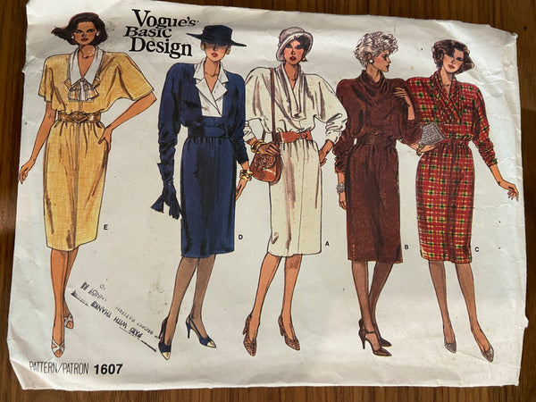 Vogue 1607 vintage 1980s  dress sewing pattern