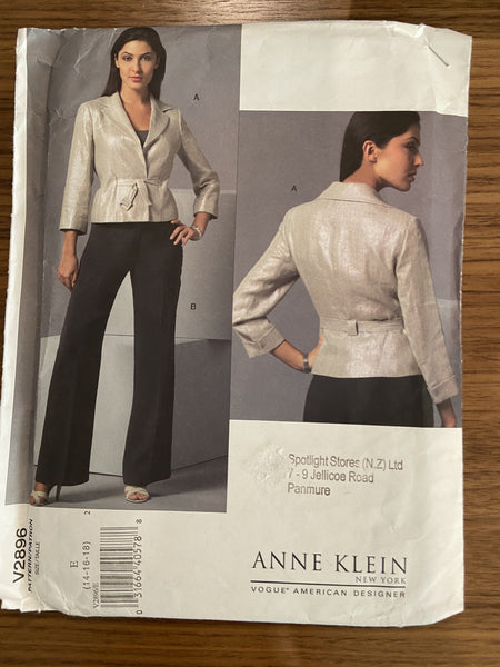 Vogue V2896 designer Anne Klein Vogue American Designer Jacket and pants sewing pattern