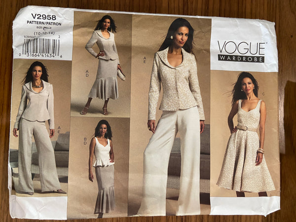 Vogue V2958 Vogue Wardrobe jacket,bustier, dress, skirt and pants sewing pattern