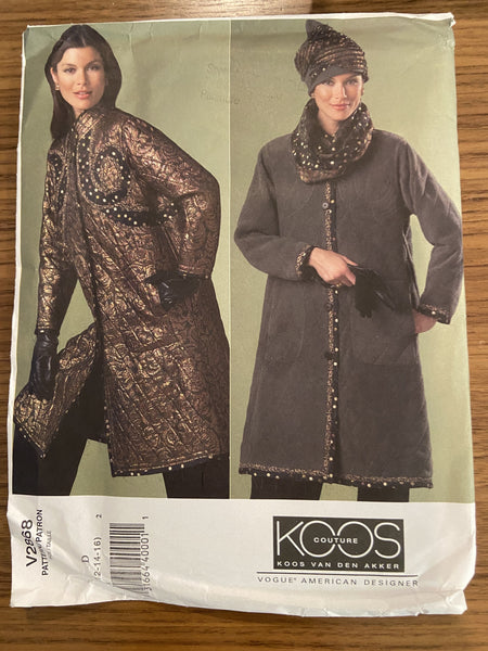 Vogue V2868 Vogue American Designer Koos Van Den Akker coat, hat and scarf sewing pattern