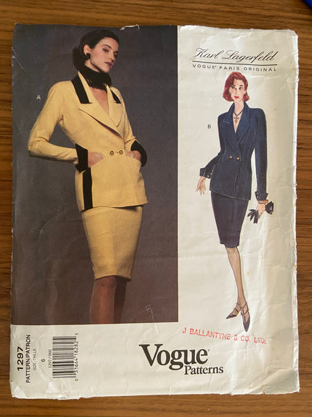 Vogue 1297 Karl Lagerfeld Vogue Paris Original 1990s jacket and skirt sewing pattern