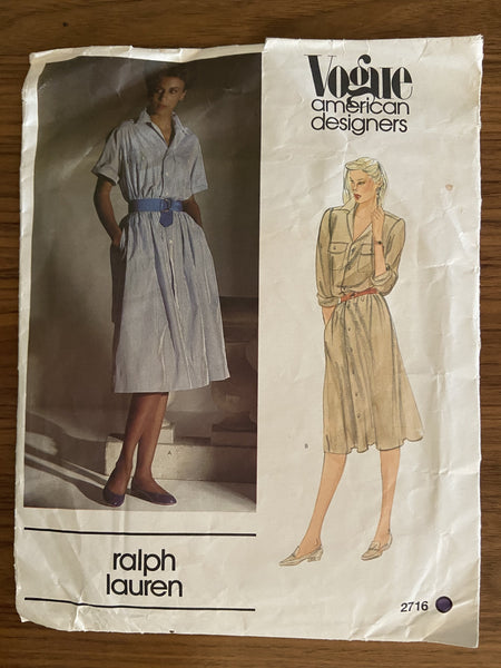 Vogue 2716 vintage 1980s Vogue American Designer Ralph Lauren shirt dress sewing pattern.