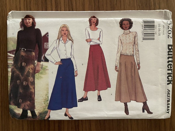Butterick 3262 2001 fast and easy skirts sewing pattern