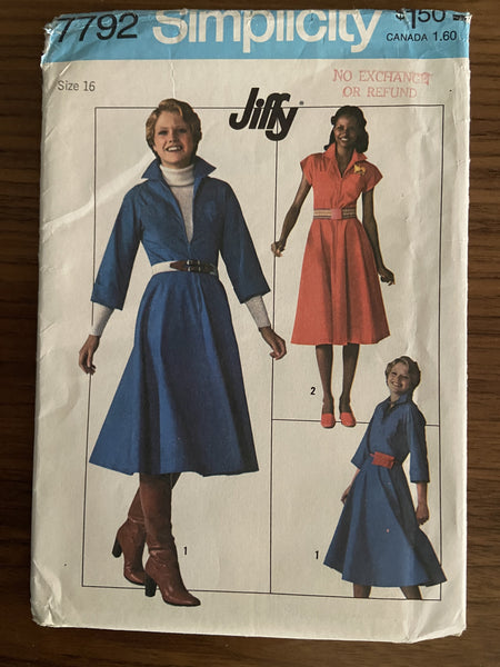 Simplicity 7792 vintage 1970s jiffy dress pattern