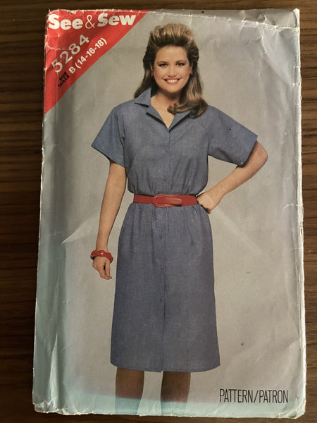 Butterick 5284 vintage 1980s dress sewing pattern