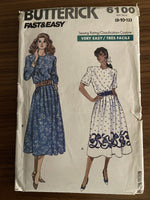 Butterick 6100 vintage 1980s dress sewing pattern