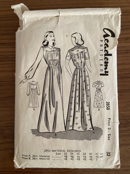 Academy 2850 vintage 1950s dressing gown robe sewing pattern