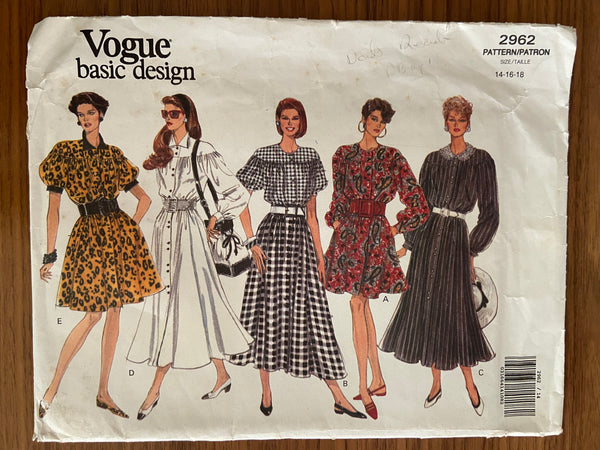 Vogue 2962 vintage 1990s dress sewing pattern