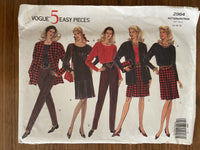Vogue 2964 vintage 1990s dress, top, skirt, pants sewing pattern