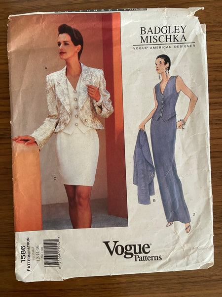 Vogue 1586 Badgley Mishka1990s jacket, top and skirt sewing pattern
