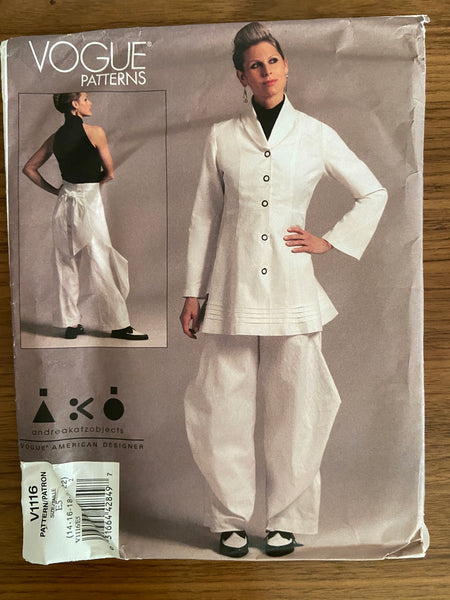 Vogue V1116 designer Andrea Katz Vogue American Designer Jacket and pants sewing pattern