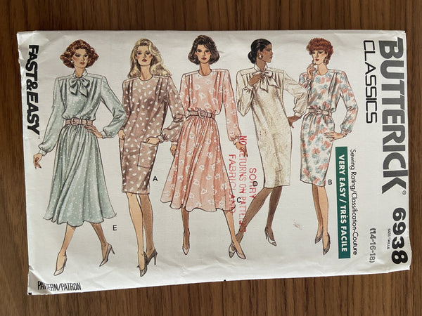 Butterick 6938 vintage 1990s dress sewing pattern