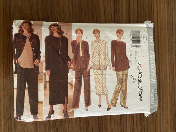Butterick 4582 vintage 1990s JH collectibles jacket, top, pants and skirt sewing pattern
