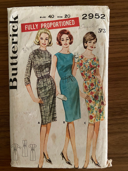 Butterick 2952 vintage  1960s dress sewing pattern