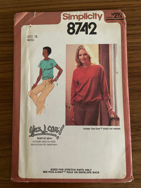 Simplicity 8742 vintage 1970s pullover tops pattern