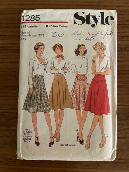 Style 1285 vintage 1970s skirt pattern