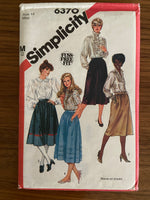 Simplicity 6370 vintage 1980s skirt sewing pattern