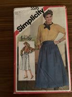 Simplicity 5576 vintage 1980s skirt sewing pattern