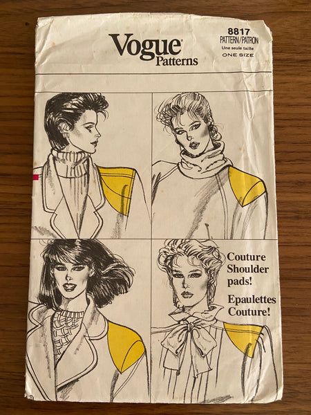 Vogue 8817 vintage 1980s shoulder pads sewing pattern