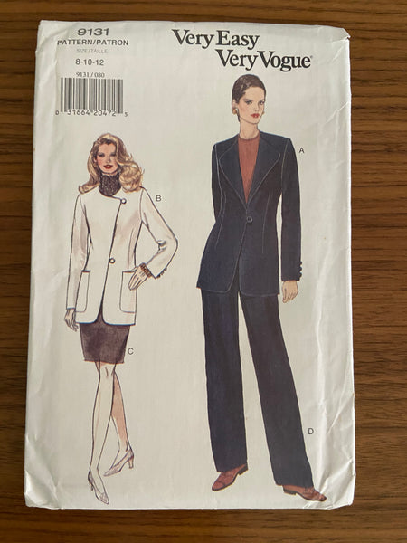 Vogue 9131 vintage 1990s jacket, skirt and pants sewing pattern