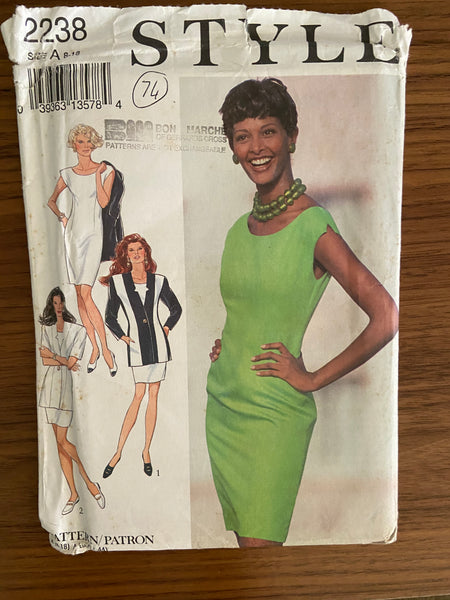 Style 2238 vintage 1990s dress and jacket sewing pattern